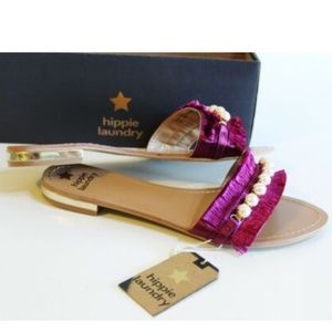 Hippie Laundry Pink Fringe Sandals Size 8 or 9.5 M
